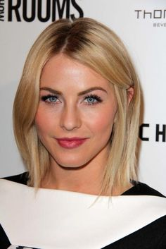 Super-straight shoulder-length hair gives off a chic, edgy vibe that works well casually or out on the town. Julianne Hough has rocked nearly every length of hair, and this is one of our favorites. #hairstyle