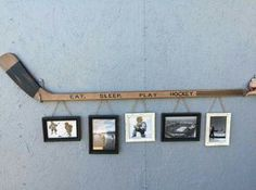 Retro Hockey Stick with 5 Hanging Frames.They had this for sale in Kenora when … Retro Hockey Stick with 5 Diy Projects For Bedroom, Diy Projects For Men, Diy For Men, Project Projects, Hockey Crafts, Hockey Decor, Crosse De Hockey, Bedroom Themes, Bedroom Decor