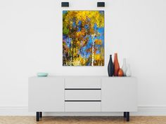 Colorful abstract canvas art museum quality stretched canvas fine art print gallery wrap with mirrored sides. Print size: 8x10x1.5, 11x14x1.5, 16x20x1.5, 20x24x1.5 or 24x36x1.5. Orientation: vertical.  Title: Safari Mosaic Abstract  Impressionist water reflection of colorful fall trees. This nature abstract wall art will add a beautiful splash of color to any room. Fine art nature photograph stretched canvas print, premium glossy canvas stretched on a wooden frame 1.5 x 1.5 with mirrored…