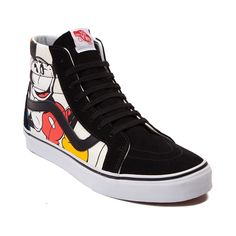 Put yourself in Mickey's shoes! Step into certified Disney style with the new Vans Sk8 Hi Mickey Mouse Sneaker, sporting an iconic high top design, with legendary Mickey and friends graphic prints, and durable suede vamp and trim. Look carefully at each print to see if you can spot the hidden Mickey ears! o