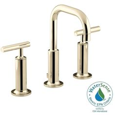 KOHLER Purist 8 in. Widespread 2-Handle Low-Arc Bathroom Faucet in Vibrant French Gold