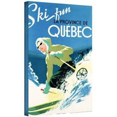 ArtWall Canadian School (20Th Century) Poster Advertising Skiing Holidays In Quebec, C.1938  Gallery-Wrapped Canvas, Size: 16 x 24, White