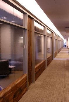 Settlers Plank mixed hardwoods were crafted into paneling and doors for a NYC office. Corporate Design, Plank, Interior And Exterior, Hardwood, Flooring, Doors, Gallery, Home Decor, Bulletin Boards