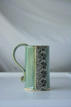 """Morgan Williamson. Handmade Studio. """"Green Lace Mug""""3"""" x 4.5"""" See this work and more at the Tennessee Craft Fair May 2-4, 2014 at Nashville's Centennial Park.  #tennesseecraft"""
