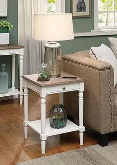 Amazon.com : french country bedrooms colors White End Tables, End Tables With Drawers, Wood End Tables, Desk With Drawers, Dining Tables, Country Furniture, Living Room Furniture, Country Decor, Furniture Ideas
