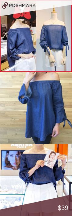 """Off-shoulder sleeves knotted top Super chic. Material: light cotton. No sheer. NOTE: if wanting the loose look in the pic, order ONE SIZE UP. Nwot.  US xs (Asian s): bust: 35-36"""", length: 23"""" US s (AsianM) : bust- 36-37"""" length-24"""" US M (Asian L): bust-37-38"""", length: 25"""".  US L (Asian XL): bust-38-39"""", length: 25-26"""". US XL (Asian XXL): bust-40"""", length: 26-27"""" Tops"""