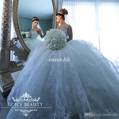 Luxury Lace Ball Gown Wedding Dresses 2017 Arabic Crystals Spaghetti Straps…