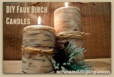 DIY Faux Birch Candles - I love the look of the birch candles, but they can be pricey! So in just a few minutes I turned a couple of cheap dollar store candles…