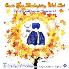 Crie sua Concurso Wish List de Ação de Graças foi encerrada! Verifique se o seu nome na lista. Certifique-se de entrar em outro concurso no início de dezembro!