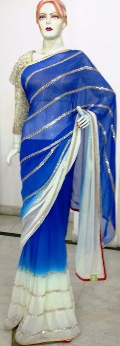 Indian Ethnic Beautiful Traditional crystal stone  bridal embroidered new sari #sghub #SariSaree