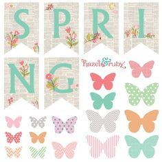 Hazel and Ruby: DIY Spring Banner, FREE Printable #springgarland #springprintable #butterfliesprintable
