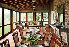 The fieldstone wall, unfinished-fir floor, and cypress ceiling in the screen porch of a Wainscott, New York, home accentuate the indoor-outdoor feel of the dining space. Outdoor Furniture Design, Furniture Decor, Family Room Addition, Southern Porches, Outdoor Rooms, Indoor Outdoor, Outdoor Living, Beautiful Dining Rooms, House Beautiful