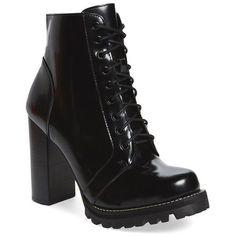 Women's Jeffrey Campbell 'Legion' High Heel Boot (€145) ❤ liked on Polyvore featuring shoes, boots, ankle booties, ankle boots, heels, black box leather, high heel bootie, black booties, chunky heel booties and lace up heel booties
