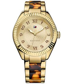 Tommy Hilfiger Watch, Women's Tortoise and Gold-Tone Stainless Steel Bracelet 41mm 1781347 - Women's Watches - Jewelry & Watches - Macy's