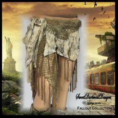 Post Apocalyptic Leather Skirt RESERVE for door SweetDarknessDesigns