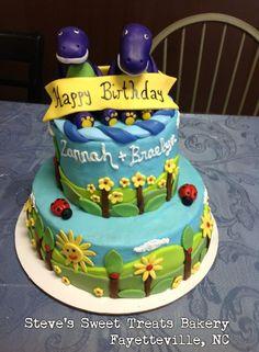 twin, birthday parti, shower cake, birthday idea, barney birthday, birthday cakes