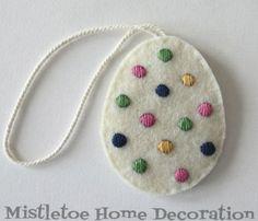 Embroidered felt Easter egg decoration
