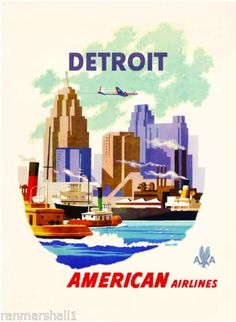1950s-Detroit-Michigan-United-States-of-America-Travel-Advertisement-Art-Poster