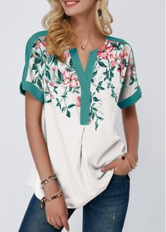 Women'S Sage Green Floral Print Notch Neck Short Sleeve Tunic Spring Blouse Contrast Piping Casual Top By Rosewe Contrast Piping Notch Neck Floral Stylish Tops For Girls, Trendy Tops For Women, Blouses For Women, Women's Blouses, Formal Blouses, White Blouses, Mode Hijab, Ladies Dress Design, Printed Blouse