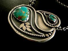 Paisley necklace | Louise O'Dwyer.  Sterling silver and Kingman mine turquoise