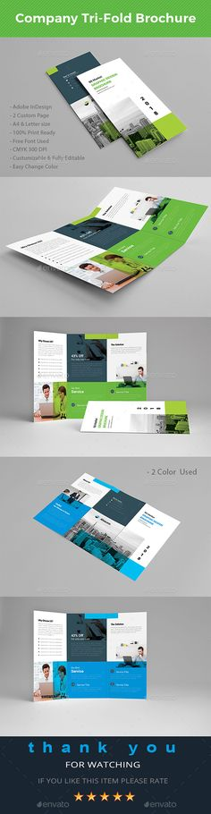 Company Tri-fold Brochure Template InDesign INDD - A4 & US Letter Size