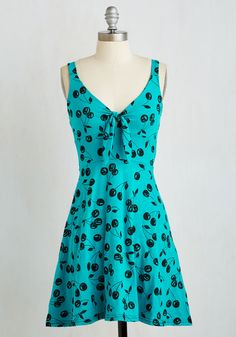 Rockin' Rain or Shine Dress. When its your favorite band on stage and this playful teal dress on your frame, nothing can stop you from dancing! #blue #modcloth