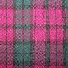 Tartan - Pink and Green. Wool Mix, dressmaking weight