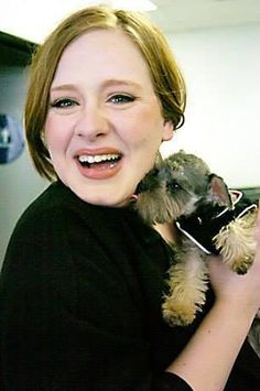 #Adele and #puppy. #Cute