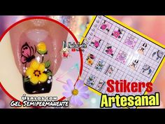 Sabes cómo usar los Stikers artesanales con gel semipermanente? Paso a paso como hacer Stikers uñas - YouTube Make It Yourself, Nails, Internet, Youtube, Photos, Frases, Aztec Nails, Nail Manicure, Finger Nails