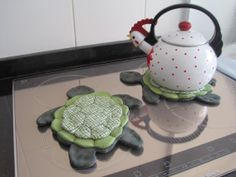Descanso de panelas de tartaruguinhas!!! Lindas e não deixam passar o calor de jeito nenhum!!!!