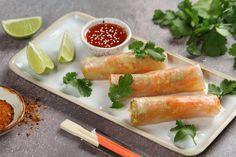 Warzywa w papierze ryżowym przepis – Zobacz na przepisy.pl Fresh Rolls, Ethnic Recipes, Food, Essen, Meals, Yemek, Eten