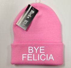 Bye felicia  PINK Beanie  Funny  Knit beanie Beanies by cushQUOTES, $19.00