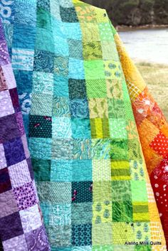 Rainbow quilt. the link seems dead, but I like the idea from the picture.