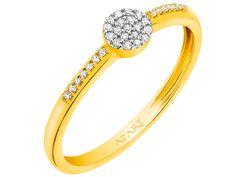 Pierścionek z żółtego złota z diamentami | Apart