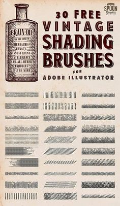 30 Free Vintage Shading Brushes for Adobe Illustrator Graphic Design Tools, Graphic Design Tutorials, Graphic Design Inspiration, Design Elements, Ink Illustrations, Digital Illustration, Graphic Design Illustration, Stippling Brush, Drawing Tutorials