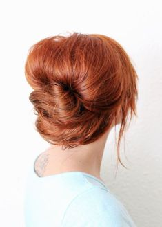 Classic French Twist for Bright Red Hair