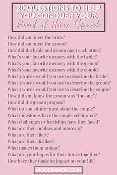 A list of 20 questions to help you write your maid of honor speech Maid Of Honor Toast, Maid Of Honor Speech, Matron Of Honour, 20 Questions, This Or That Questions, Bridesmaid Speeches, Bridesmaid Duties, Bridesmaid Dresses, Wedding Speech Quotes