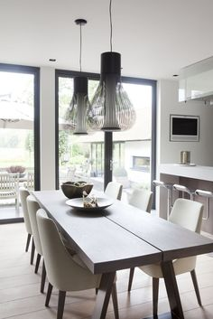 Clean designed dining area with ceiling lamps in industrial look and a top modern parquet flooring. Dining Room Lighting, Modern Dining Room, Dining Room Decor, House Interior, Dining Corner, Interior Design Living Room, Dining Room Industrial, Dining Room Small, Home Decor