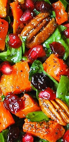 Butternut Squash Spinach Salad with Pecans, Cranberries, Pomegranate with Poppy Seed Honey-Lime Dressing. Thanksgiving, holiday gluten free salad. (Vegan Thanksgiving Sandwich)