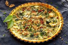Our Crustless Spinach Quiche with Sun-Dried Tomatoes is packed with protein, a dose of essential amino acids, and vitamins like riboflavin and folic acid. | skinnyms.com