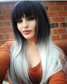 Taking all the best elements of our classic Lush Wigs Silver Ombre this new style has double the volume, thicker and with more hair to play with! We have - Worldwide Tracked Delivery Silver Ombre, Grey Ombre, Pretty Hairstyles, Wig Hairstyles, Blunt Fringe, Lush Wigs, Black Roots, Lolita Cosplay, Ombre Wigs