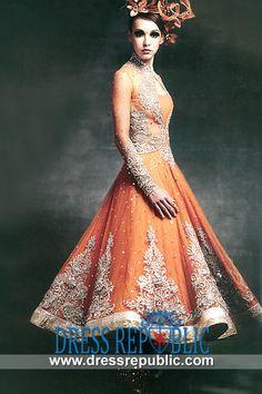 Burnt Orange Walsall - DR9097, Burnt Orange Anarkali Dress, Latest Anarkalee Dresses 2013 Collection Buy Online by www.dressrepublic.com