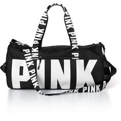 PINK Gym Duffle ($33) ❤ liked on Polyvore featuring bags, luggage, pink, duffel bags and grey