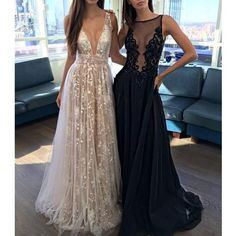 Deep V Neck Sexy Long Tulle Applique Inexpensive Evening Prom Dresses, PM0272