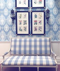 Wise words from ・・・Two things I've learned over the years-a few yards of gingham and good set of botanical prints go a long way. Blue Rooms, White Rooms, White Walls, Interior Exterior, Interior Design, White Houses, Of Wallpaper, White Decor, Botanical Prints