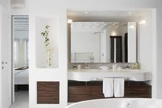 White Bathroom - note inset wall with drawers