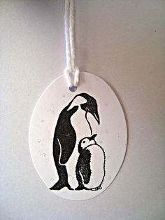 Penguin Hanging Tags Black and White hand stamped Very by Wcards, $2.50