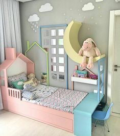 Best Childrens Beds Single / Double With Storage And Desk for Home - Super Dekor Baby Bedroom, Girls Bedroom, Bedroom Decor, Bedroom Ideas, Bedroom Pictures, Trendy Bedroom, Single Bedroom, Decor Room, Childrens Beds