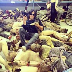 Norman on a pile of walkers.