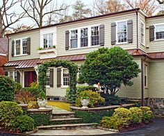 New shutters are an easy way to boost a home's facade. More curb appeal ideas: http://www.bhg.com/home-improvement/exteriors/curb-appeal/make-a-better-first-impression/?socsrc=bhgpin032913blackshutters